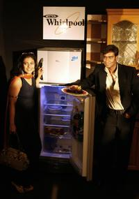 Kajol and Ajay Devgan at the launch of Whirlpool products in New Delhi.