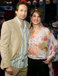 David Duchovny and Nia Vardalos at the world premiere of
