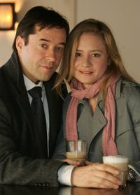 Jan Josef Liefers and Julia Jentsch at the photocall on the set of the upcoming SAT.1 television film