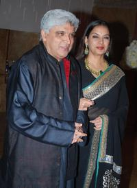 Javed Akhtar and Shabana Azmi at the wedding reception of Raj Kundra and Shilpa Shetty.