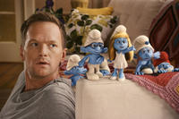 Neil Patrick Harris as Patrick, Clumsy Smurf, Brainy Smurf, Smurfette, Gutsy Smurf and Papa Smurf in ``The Smurfs.''