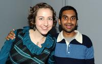 Kristen Schaal and Aziz Ansari at the Apple Store Soho's