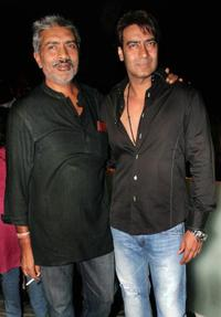 Director Prakash Zha and Ajay Devgan at the press meet of