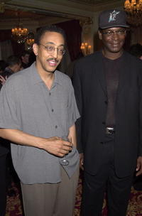 Gregory Hines and former longjumper Bob Beamon attend the Welcome Reception at Hotel L Hermitage prior to the Laureus World Sports Awards.