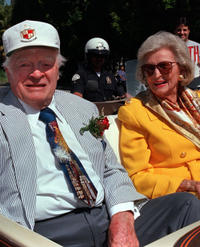 Bob Hope and Dolores at the 75th Anniversary Toluca Lake Parade in California.