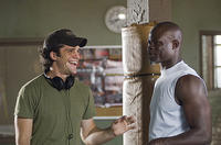 Director Jeff Wadlow and Dijimon Hounsou on the set of