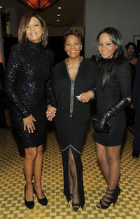 Whitney Houston, Singer Dionne Warwick and Bobbi Kristina Brown at the 2011 Pre-GRAMMY Gala in California.