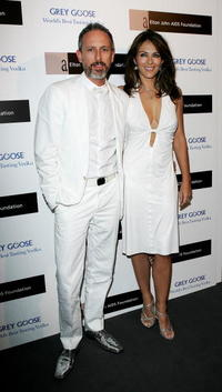 Elizabeth Hurley and Patrick Cox at the Grey Goose Vodka And The Elton John AIDS Foundation Launch Party.