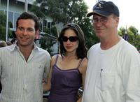 William Hurt, Eion Bailey and Claire Forlani at the AO Room during day six of the Australian Open at Melbourne Park.