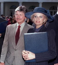 Picture of Jill Ireland and US actor Charles Bronson at the White House Rose Garden.