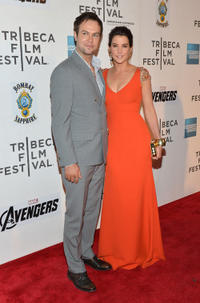 Taran Killam and Cobie Smulders at the premiere of