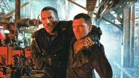 Christian Bale as John Connor and Sam Worthington as Marcus Wright in