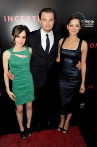 Ellen Page, Leonardo DiCaprio and Marion Cotillard at the premiere of