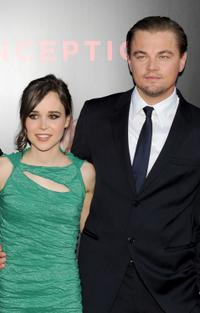 Ellen Page and Leonardo DiCaprio at the premiere of