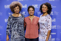 Angela Davis, director Shola Lynch and Eisa Davis at the photocall of