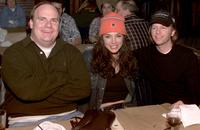 Kevin Farley, Krista Allen and David Spade at the CBS's Super Bowl/Survivor ll viewing party.
