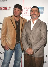 Randy Couture and David Mamet at the premiere of