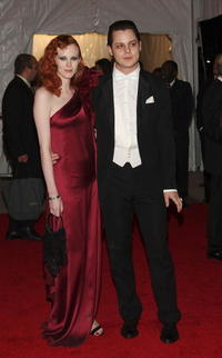 Karen Elson and Jack White at the Metropolitan Museum of Art Costume Institute Gala, Superheroes: Fashion and Fantasy.