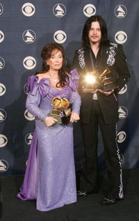 Loretta Lyne and Jack White at the 47th Annual Grammy Awards.