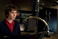 Freddie Highmore on the set of