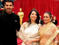 John Abraham, Guest and Deepa Mehta at the 79th Annual Academy Awards.