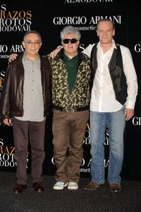 Jose Luis Gomez, Pedro Almodovar and Lluis Homar at the photocall of