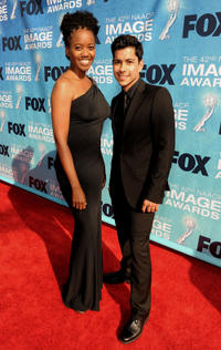 Erika Alexander and Jeremy Ray Valdez at the 42nd NAACP Image Awards in California.