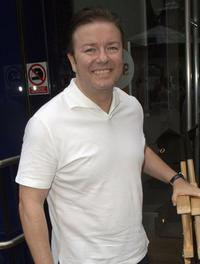 Ricky Gervais at the Johnny Vaughan show for the fund raising campaign of