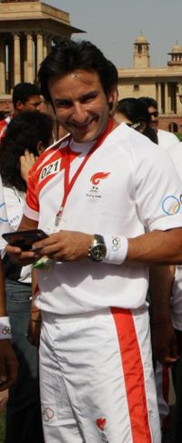 Saif Ali Khan at the start of the Olympic Torch relay.