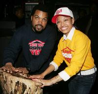 Ice Cube and Aleisha Allen at the promotion of