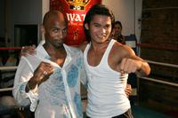 Phil Nurse and Tony Jaa at the Wat Gym to promote