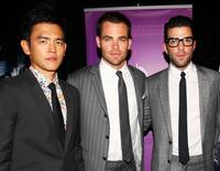 John Cho, Chris Pine and Zachary Quinto at the premiere of