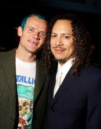 Flea and Kirk Hammett at the 24th Annual Rock and Roll Hall of Fame Induction Ceremony.