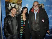 Shawn Roberts, Michelle Morgan and Director George A. Romero at the premiere of