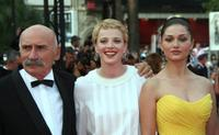 Tuncel Kurtiz, Patrycia Ziolkowska and Nurgul Yesilcay at the 60th edition of the Cannes Film Festival.