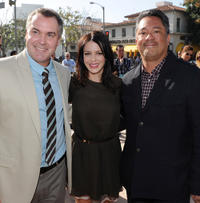 Director Chris Miller, Latifa Ouaou and producer Joe M. Aguilar at the California premiere of