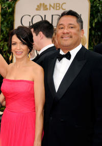 Latifa Ouaou and producer Joe M. Aguilar at the 69th Annual Golden Globe Awards in California.