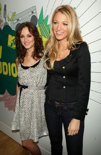 Leighton Meester and Blake Lively at the MTV's Total Request Live.