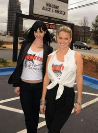 Krysten Ritter and Alice Eve at the Hooters in Atlanta, Georgia.