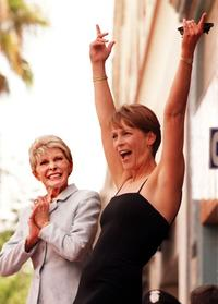 Janet Leigh and her daughterJamie Lee Curtis who is honored and a star on the Walk of Fame.