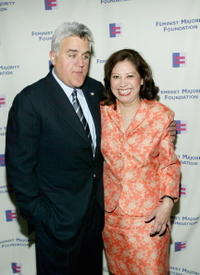 Jay Leno and Hilda Solis at the Feminist Majority Foundation's Inaugural Global Women's Rights Awards.