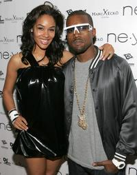 Alexis Phifer and Kanye West at the Ne-Yo Release party.