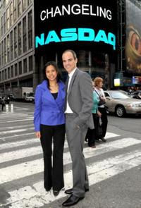 Maribel Aber and Michael Kelly at the ringing of NASDAQ stock market closing bell.