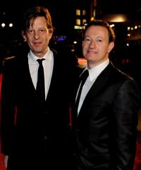 Christian Colson and screenwriter Simon Beaufoy at the European premiere of