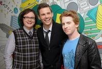 Clark Duke, James Marsden and Seth Green at the MTV's TRL.