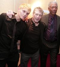 Toby Hemingway, Fred Ward and Morgan Freeman at the premiere of