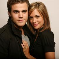 Paul Wesley and Torrey DeVitto at the Amex Insider's Center during the 2008 Tribeca Film Festival.