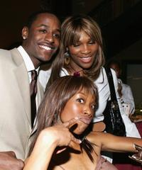 Jackie Long, Serena Williams and Brandy at the premiere of