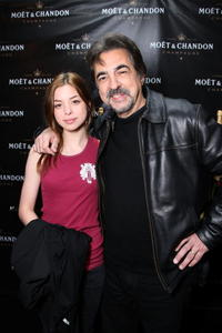 Joe Mantegna and his daughter Gina Mantegna at the Moet & Chandon suite at The Luxury Lounge in honor of the 2008 SAG Awards.