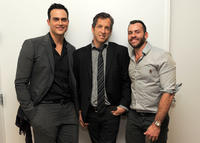 Cheyenne Jackson, designer Kenneth Cole and  producer Josh Wood at the 2011 amfAR New York Inspiration Gala Kick-Off party in New York.